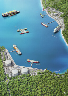 LNG Solutions 3D illustration