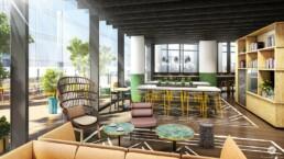 La Tour Trinity. Visuels 3D des espaces restauration pour SAGUEZ, par Guillaume Favre